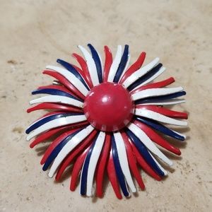Jewelry - Vintage Brooch Red White & Blue Flower